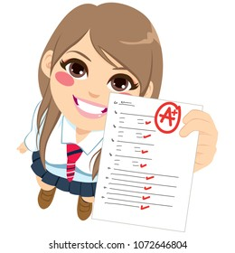 Close up top view of teenager student girl showing perfect A plus test exam result