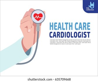 Close up. Cardiologist doctor stethoscope hold in hand.