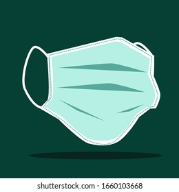 Close up: Mask for protect dust or virus in cartoon vector style for your design