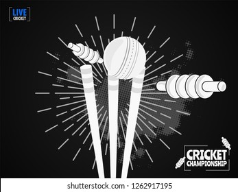 Close view of cricket ball hitting on the stumps, b&w concept based template design for Cricket Championship.