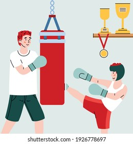 Close up view of father teaching child box fight, cartoon vector illustration. Parenting and family bonding sport activity of father and son banner concept.