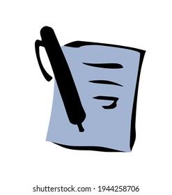 Close up view simple finance deal treaty folio register web outline white plan concept. Freehand linear black ink hand drawn closeup pact task pad record emblem design art retro doodle contour style