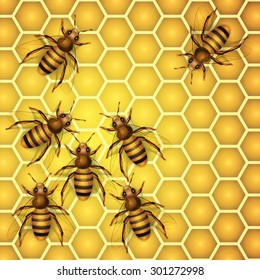 Close up view of the working bees on honey cells. Vector illustration