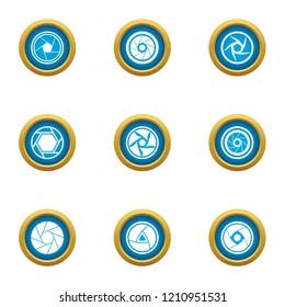 Close visor icons set. Flat set of 9 close visor vector icons for web isolated on white background