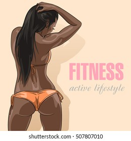 Close up of a woman's body from behind. african american woman in sexy orange swimsuit. Vector illustration