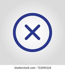 Close or X in the circle isolated flat vector icon