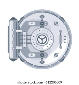 Closed bank vault door in front view, simplify flat style, isolated