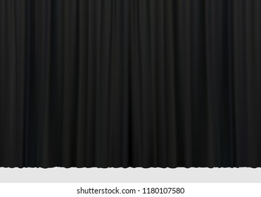 Closed black curtains with folds background. Theatrical drapes. Vector illustration.