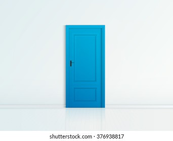 Closed blue door with frame Isolated on background vector design