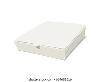 Closed box for pizza. Package food. Isolated white background. Vector illustration.