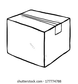 closed cardboard paper box / cartoon vector and illustration, black and white, hand drawn, sketch style, isolated on white background.