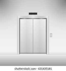 Closed chrome metal elevator doors. Vector illustration.