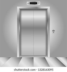Closed chrome metal office building elevator doors realistic vector illustration