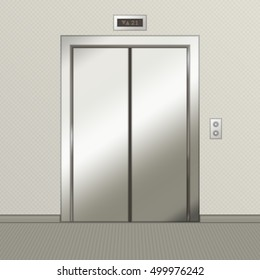 Closed chrome metal office building elevator doors. Vector illustration in realistic style.