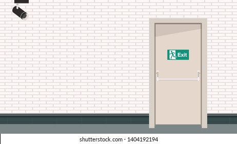 closed circuit camera and door vector. wallpaper. free space for text. copy space. blank.
