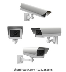 Closed circuit television cameras realistic set. External cctv. Surveillance equipment. Security monitoring system for smart home, company. Vector realistic cctv isolated on white background.