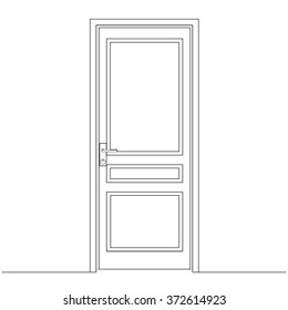 Closed door, the drawing of the door leaf. Architectural drawings. design lines.