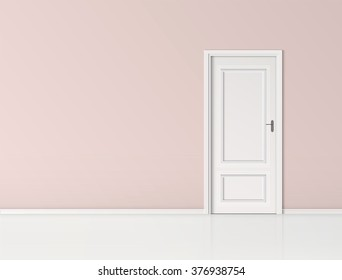 Closed door with frame Isolated on pink wall background vector design