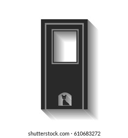 closed door with the silhouette of the animal vector illustration