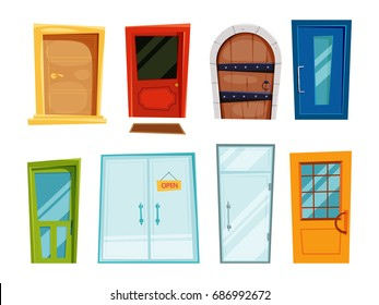 Closed doors of different types. Vector illustrations in cartoon style