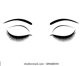 Closed eyes with black eyelashes on a white background. vector