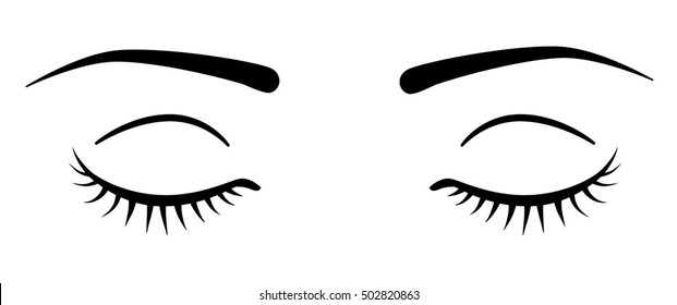 Closed eyes with eyelashes. - Vector