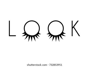 Closed eyes with long eyelashes in a word look isolated on white background. Stock vector illustration of logo for eyelash extension, make-up service, beauty salon procedure, make up artist.