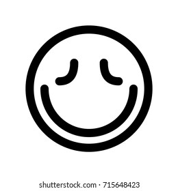 Closed eyes smile line vector icon