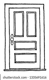 Closed Hinged Doorclosed, door, entryway, hinged door, la puerta esta cerrada, vintage line drawing or engraving illustration