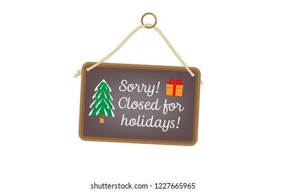 Closed for the holidays - hanging sign with festive images
