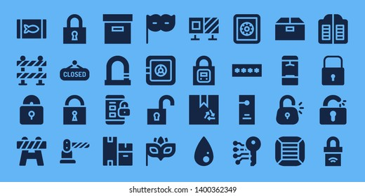 closed icon set. 32 filled closed icons. on blue background style Simple modern icons about  - Canned food, Barrier, Padlock, Lock, Closed, Box, Boxes, Eye mask, Safe box, Unlock