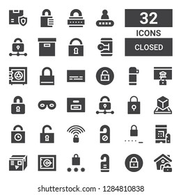 closed icon set. Collection of 32 filled closed icons included Lock, Padlock, Door hanger, Password, Safe, Box, Unlocked, Unlock, Padlocks, Eye mask, Locked, Thermo, Subtitles