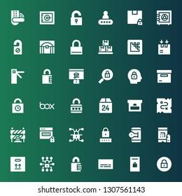 closed icon set. Collection of 36 filled closed icons included Padlock, Locker, Subtitles, Box, Password, Unlocked, Lock, Traffic barriers, Treasure, Padlocks, Access, Media encoder