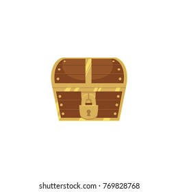 Closed and locked wooden pirate treasure chest, front view, flat style cartoon vector illustration isolated on white background. Flat style treasure chest, new, closed with hanging padlock