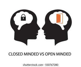 Closed minded vs open minded clip art