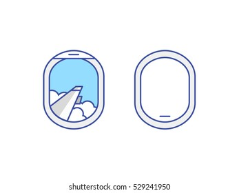 Closed and open airplane window icons set. Sky with clouds and wing