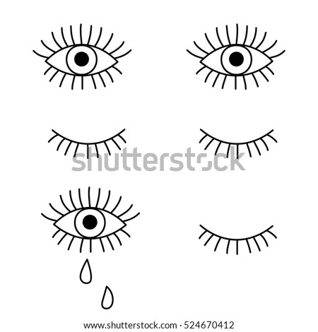 closed open eye crying stock vector royalty free 524670412