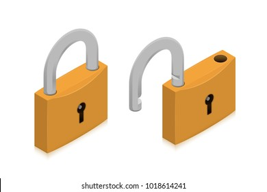 Closed and open locks. Isometric vector illustration