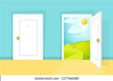 Closed and opened door. Cartoon door view. Sunny day scene. Hill, clouds, sun,  entrance, doorway, door knob. Isolated white doorway front. Home design concept set. Eps 10 vector illustration.