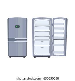 Closed and opened empty fridge isolated on white background