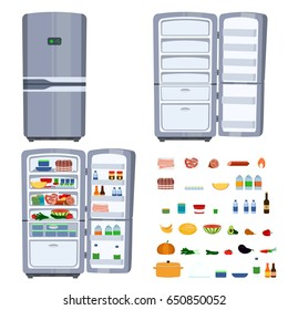 Closed and opened refrigerator with food isolated on white background