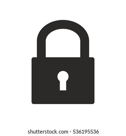 Closed padlock isolated on white background. Vector