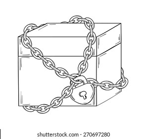 closed paper box with chain and lock on white background, isolated