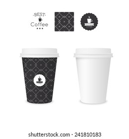 Closed paper cup for coffee with texture. Sample seamless pattern.  Mock up