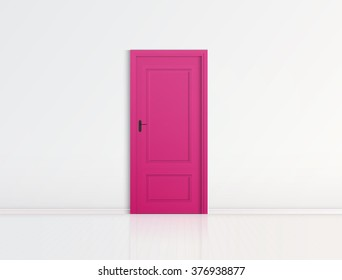 Closed pink door with frame Isolated on background vector design
