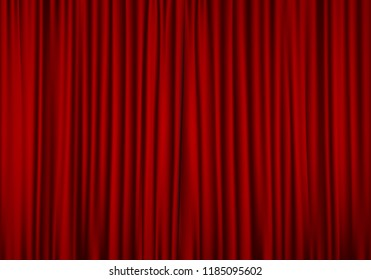 Closed red curtain background. Theatrical drapes. Vector illustration.