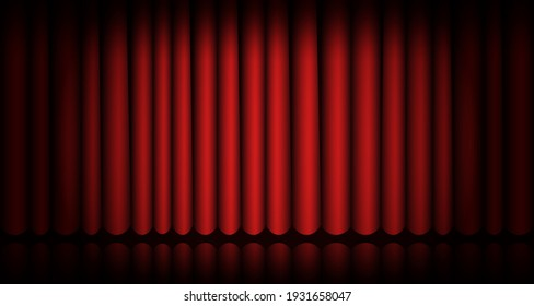 Closed red curtain stage background. Spotlight beam illuminated. Theatrical drapes. Template design for cinema, concert, ceremony, show, theater performance. Velvet fabric curtain. Vector illustration