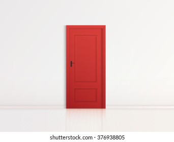 Closed red door with frame Isolated on background vector design