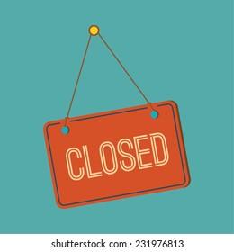 Closed retail store red vector illustration symbol.  flat design