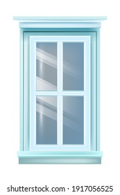 Closed retro house blue window exterior vintage view with sill, isolated on white background. Architecture exterior design object, decorated facade glass element. Retro window realistic illustration